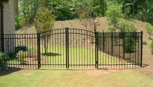 aluminum fence residential double gate arched